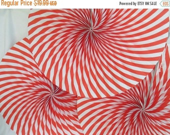 SALE 50% OFF Candy Land Decoration Hanging Paper Fans Christmas Rosettes Red Hanging Fans Pinwheels Candy Cane Paper Fans Hanging Fans Party