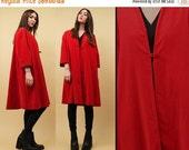 15% OFF 1DAY SALE 50s 60s Vtg Cherry Red Velvet Swing Opera Coat / Tented Mod Minimal Jacket 3/4 Sleeve Single Button Bombshell Rockabilly P