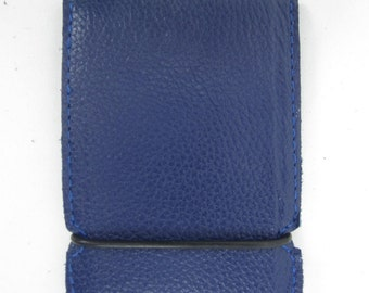 New! hand made blue leather cash cover wallet