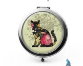 Floral Rose Shabby Cat Compact Mirro Bridesmaid Gifts Pocket Mirror Cosmetic Mirror Gifts for Her Purse Mirror