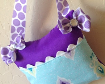 Purple Aqua Lavender Girly Tooth Fairy Pillow with Tooth Fairy Receipts