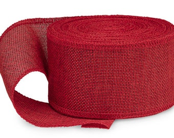 """5YDS Hot Red Soft Faux BURLAP 2-1/2"""" Sewn Edge Polyester Ribbon (Free Shipping!)"""