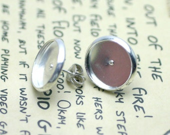 Earrings Studs & Backs, 12mm Cabochon Bezel Setting - 20pcs (10pair) - Silver