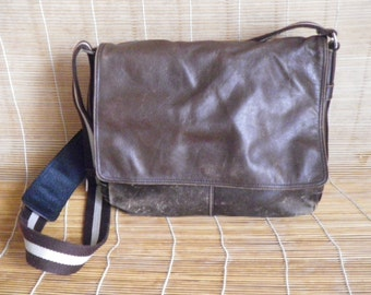 Vintage Medium Size Brown Leather Shoulder Strap Messenger Bag Picard