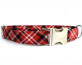 Plaid on Red Dog Collar