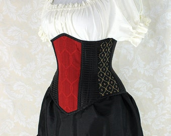 "Steampunk Black and Red Patchwork Steel Boned Waspie Corset w/Solid Front -- Corset Size 26, Fits Waist 29""-31"" -- Ready to Ship"