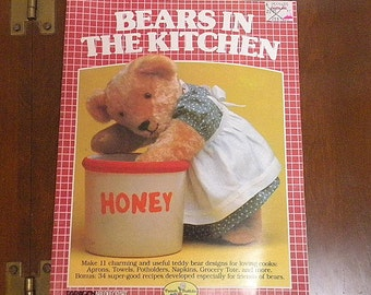Bear patterns for appliqués and cross stitch book Bears in the Kitchen