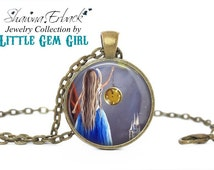 Cinderella Necklace - Cinderella Pendant - Fairy Tale Art Jewelry - Cinderella Glass Slipper Charm Necklace - Artwork by Shawna Erback