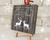 Our First Christmas ENGAGED Ornament - Personalized Ornament Mini Canvas Easel - Bridal Shower Engagement Gift - Rustic Deer Christmas Gift