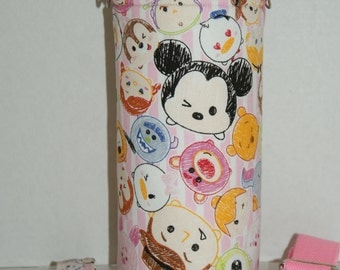 """Insulated Water Bottle Holder for 32oz Hydro Flask / Thermos with Interchangeble Handle/Strap Made with """"Tsum Tsum - Pink Stripe"""" Fabric"""