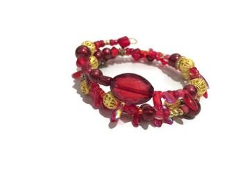 Red and gold filigree bracelet wraparound layered