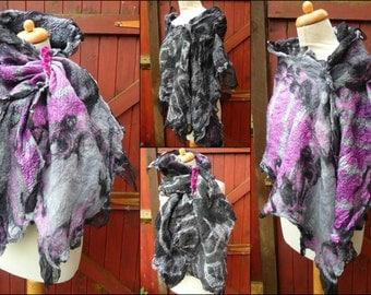 nuno felted scarf, wrap, handmade, silk, felted wool , art to wear, READY TO SHIP, black, grey, pink