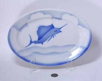 Jackson China Blue Airbrush Gulfstream Sailfish Swordfish Marlin Platter - Vintage Airbrushed Restaurant Ware