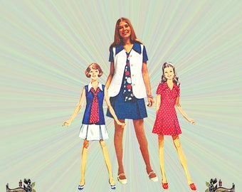 1970 Mini Dress, Vest & Tie Pattern, Size 12, Bust 34, How to Sew Series, Simplicity Sewing Pattern 8615