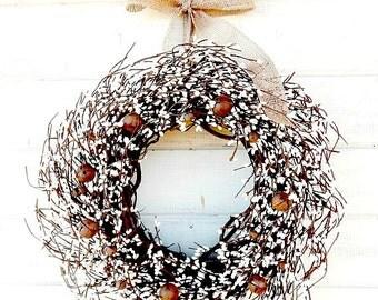 Rustic Primitive Wreath-Winter Wreath-Primitive Home Decor-BURLAP & BELLS Door Wreath-Rustic Home Decor-Wall Hanging-Scented Wreath