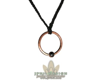 Forged and Hammered Copper and Hematite Circle Necklace