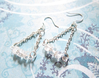 Crystal Clear Quartz Gemstone Beaded Triangle Chain Earrings TCJG