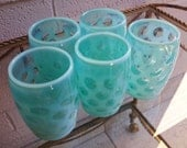 Fenton Blue Opalescent Tumblers Tumbler Coin Spot Dot Glasses Set of 5
