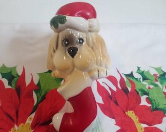 Vintage Dog Stocking Holder Puppy Christmas W/ Original Box