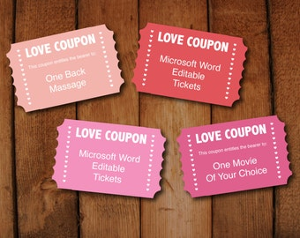 Valentine Love Coupons  Instant Download Editable Digital File To Print  Your Own Tickets In Microsoft  Print Your Own Voucher