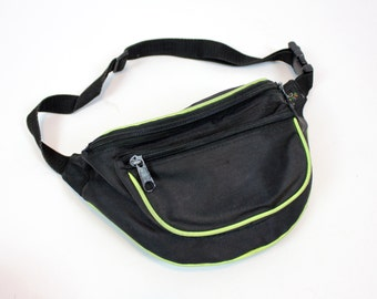 Vintage Retro Black and Neon Green Fannypack