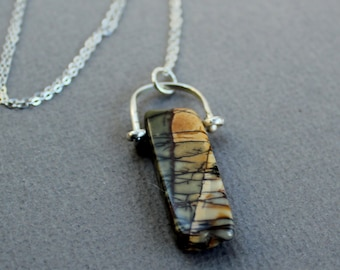 OOAK Polished River Stone- Sterling Silver Jewelry Necklace – Free U.S Shipping- Ready to ship