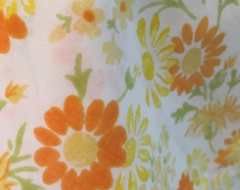 2 Yellow Orange Floral Pillowcases Standard funky 70's flowers