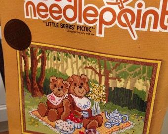 Little Bears Picnic needlepoint kit by sunset stitchery fits 11 x14 frame