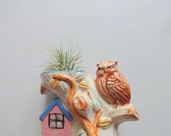 Vintage Owl on Tree Planter 1950s