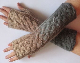 Fingerless Gloves White Gray Beige wrist warmers