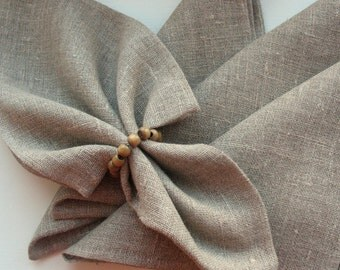 "Linen Napkins Cloth Napkins Wedding Napkins Napkin Ring Holders Gray Linen Napkins Gray Napkins Prewashed Linen - set of 12 size 12"" x 12"""