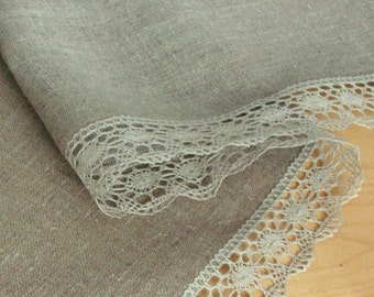 """Linen Tablecloth Vintage Tablecloth Burlap Checked Square Prewashed Natural Gray Linen Lace 40"""" x 40"""""""
