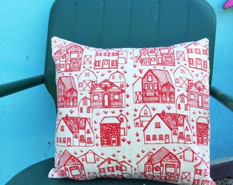 Pillow Cover - farmhouse - 16 x 16 Hand Printed Design