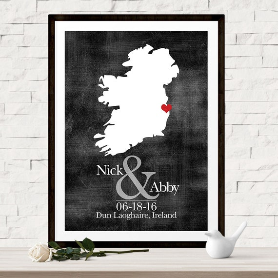 Unique Wedding Gifts Ireland : ... Unique Gift for Bride, Ireland Wedding Map, Irish Wedding Gift, Gift