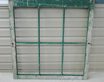 Vintage 6 Pane No Glass Painted Green Window
