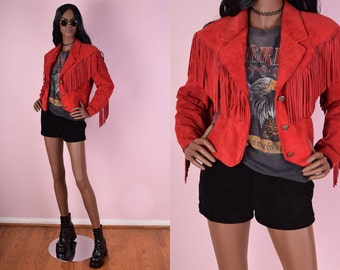 80s Red Suede Fringe Jacket/ Small/ 1980s/ Vintage/ Festival/ Leather