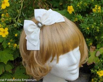 Ivory Handwriting Hair Bow with Pearl Cabochon - Headband OR Alligator Clip - Handmade
