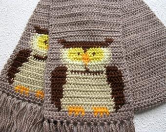 Owl Scarf. Light brown crochet scarf with owls. Crochet animal scarf. Bird scarf