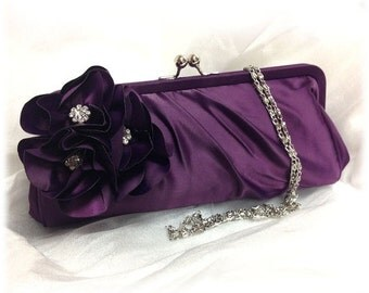 Wedding clutch, Bridesmaid clutch, Purple clutch, evening bag, Bridesmaid bag, crystal clutch, flower bag