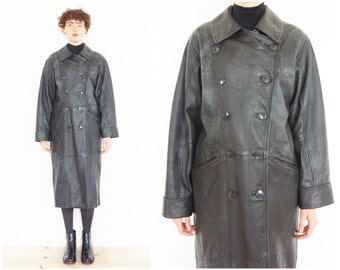 90s Black Leather Double-Breast Military Coat