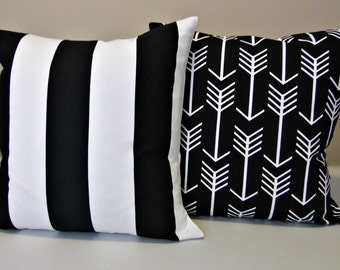 Pair Pillow Covers - Black and White - Striped - Arrow - Accent Pillows - Toss Pillow - Vertical Stripe - All Sizes