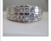 Estate 14k Princess Cut Diamond 1.8 Carat + Double Row Band Ring