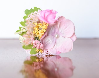 Hair Clip  in  Shades of Pink, sparkles, and Greenery - Hairbow - Photo Prop - Baby Headband - Newborn Clip - Flower Girl -Well Dressed Wolf