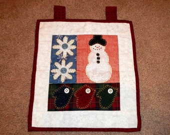 Quilted Snowman Christmas Holiday Vintage Decor Hanging Handmade