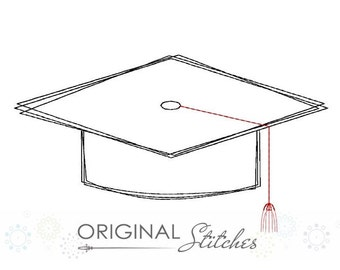 Graduation Cap Quick Stitch Machine Embroidery Design File 4x4 5x7 6x10