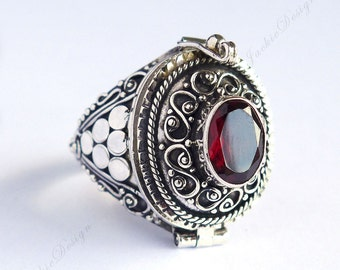 Red Garnet Amethyst Blue Topaz Poison Ring Locket Sterling Silver JD33 Free Shipping