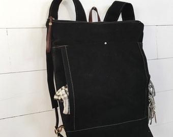 Waxed Canvas Backpack / Rucksack Black Waxed Canvas / Zip Top