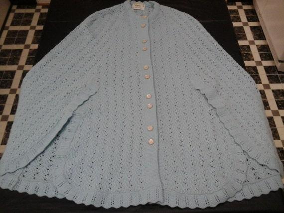 Vintage JC Penny's Knit Shawl Powder Blue