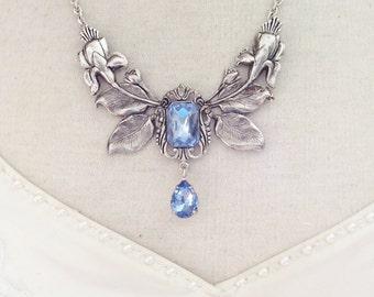 Necklace light blue silver floral necklace Bridal necklace Victorian necklace Victorian jewelry Flower necklace statement necklace