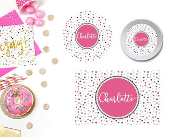 Confetti Plate/Bowl/Placemat . Personalized Plate/Bowl/Placemat . Girls Plate/Bowl/Placemat . Polka Dot Plate/Bowl/Placemat